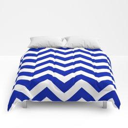 Blue (Pantone) - blue color - Zigzag Chevron Pattern Comforters
