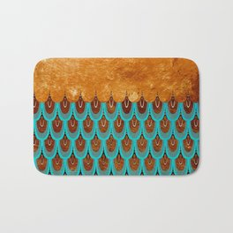 Copper Metal Foil and Aqua Mermaid Scales - Beautiful Abstract glitter pattern Bath Mat