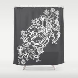 Pieces of China: Day of the Dragon (Dark Gray) Shower Curtain
