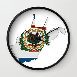 West Virginia Map with State Flag Wall Clock