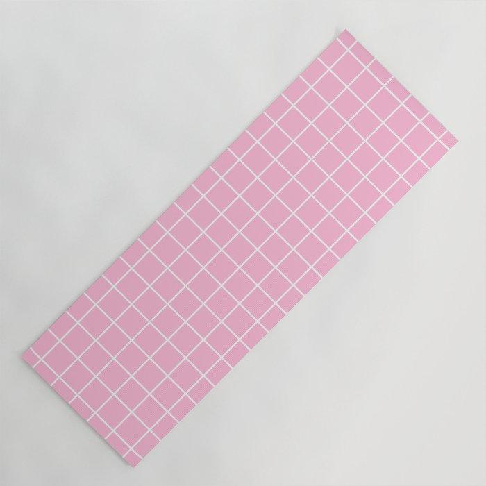 Pink white minimalist grid pattern Yoga Mat