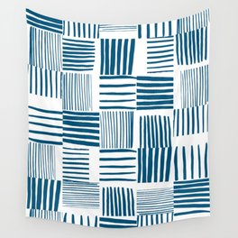 Torn Lines Abstract 03 White Blue Wall Tapestry