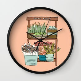 Mei's Farm Stand on Salmon Pink Wall Clock