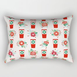Coffee holiday cups floral bouquet flowers coffees cafe basic art Rectangular Pillow
