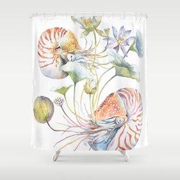 Nautilus and Lotus Surreal Watercolor Sea Animal Botanical Design Shower Curtain