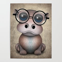Cute Nerdy Baby Hippo Wearing Glasses Poster