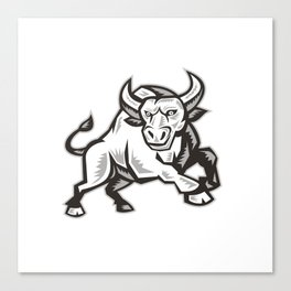 Raging Bull Attacking Charging Woodcut  Canvas Print
