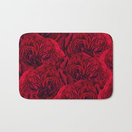 Rouge Garden - Red Roses and Peonies Pattern Bath Mat