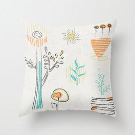 Decorative plants doodle design Throw Pillow