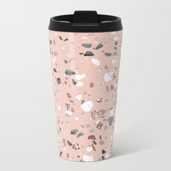 Pink Quartz and Marble Terrazzo Metal Travel Mug