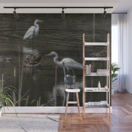 Three Great Egrets Among the Ducks, No. 2 Wall Mural