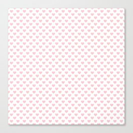 Large Millennial Pink Pastel Love Hearts On White Canvas Print