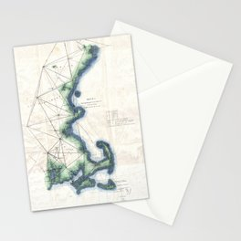 Vintage Coast of New England Cape Cod Map Stationery Cards