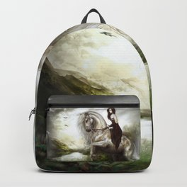 Royal redhead girl riding a white horse Backpack