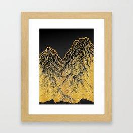 """遠望 series -""""Gold Valley"""" - Linocut Framed Art Print"""