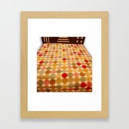 Handmade Polka Dot Kantha Bed Cover Framed Art Print