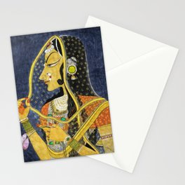 Bani Thani female portrait painting in traditional Rajasthani, the Mona Lisa of India by Nihal Chand Stationery Cards