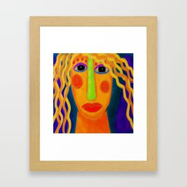 Blonde Abstract Digital Portrait of a Woman Framed Art Print