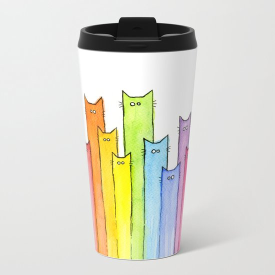Rainbow of Cats Funny Whimsical Colorful Cat Animals Metal Travel Mug