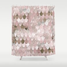 summer mermaid nude rosegold by monika strigel shower curtain