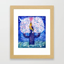 spring night song, original watercolour Framed Art Print