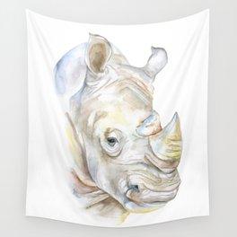 Rhino Watercolor Wall Tapestry