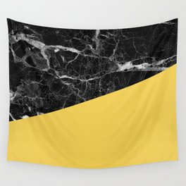 Black Marble and Primrose Yellow Color Wall Tapestry