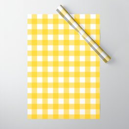 White & Yellow Gingham Pattern Wrapping Paper