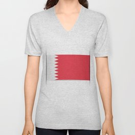 Flag of Bahrain. The slit in the paper with shadows. Unisex V-Neck