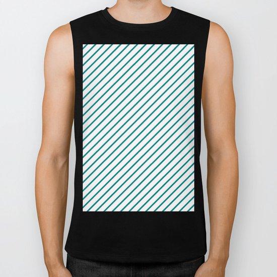 Diagonal Lines (Teal/White) Biker Tank