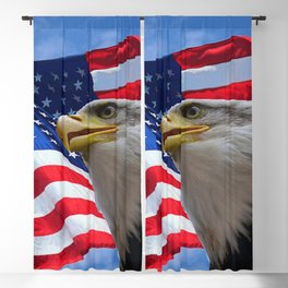 American Flag and Bald Eagle Blackout Curtain