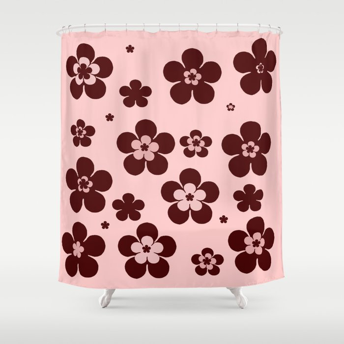 Pink with brown flowers Shower Curtain