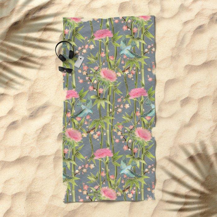 Bamboo, Birds and Blossom - grey Beach Towel
