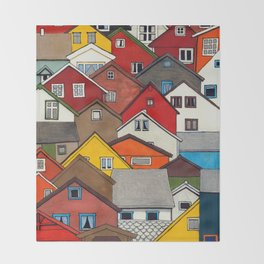 Colourful Houses Throw Blanket