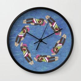 Sock Monkey Water Ballet Horizontal Wall Clock