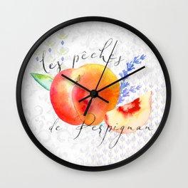 Les Pêches de Perpignan—Peaches from Provence Wall Clock