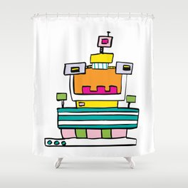 Big Smile Robot Shower Curtain