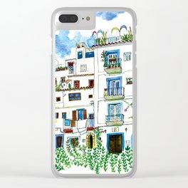 Dalt Vila houses from Ibiza - Calle de la Carrossa Clear iPhone Case