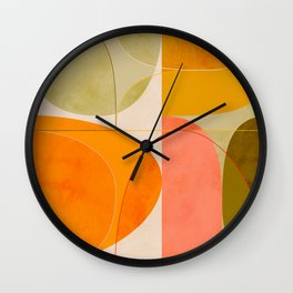 mid century geometric lines curry blush spring Wall Clock