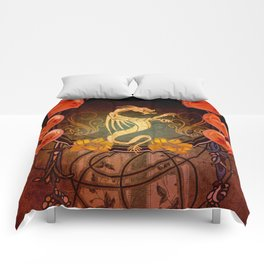 Awesome tribal dragon in golden colors Comforters