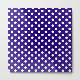 Polka Dot Party in Blue and White Metal Print