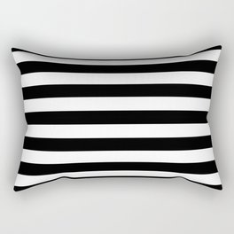 Black and White Medium Stripes Pattern Rectangular Pillow