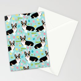 Tri colored corgi easter spring easter eggs dog breed dog art dog patterns by pet friendly Stationery Cards