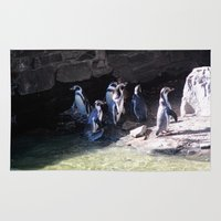 penguins Area & Throw Rugs featuring Penguins by Victoria Rushie