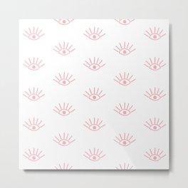 Coral Evil Eye Pattern Metal Print