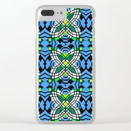 Blue Vintage Tile Boho Butterfly Print Clear iPhone Case