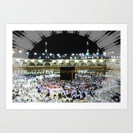 Hajj - Kaaba Stone - Muslim - the ancient sacred stone building towards which Muslims pray Art Print