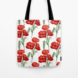 Watercolor Red Poppies Tote Bag