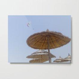 Straw parasols  Metal Print