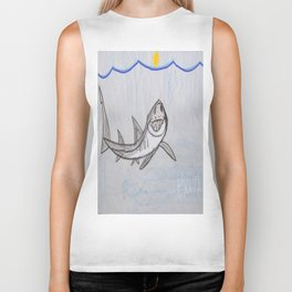 This Great White Shark is Lookin' At YOU! Biker Tank